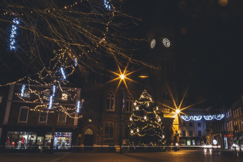 Newbury Market Place at Christmas